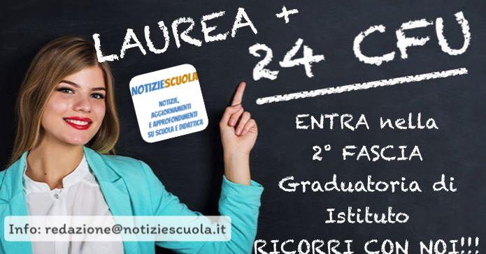 Laurea+24 CFU: Ricorso inserimento 2° Fascia d'istituto.